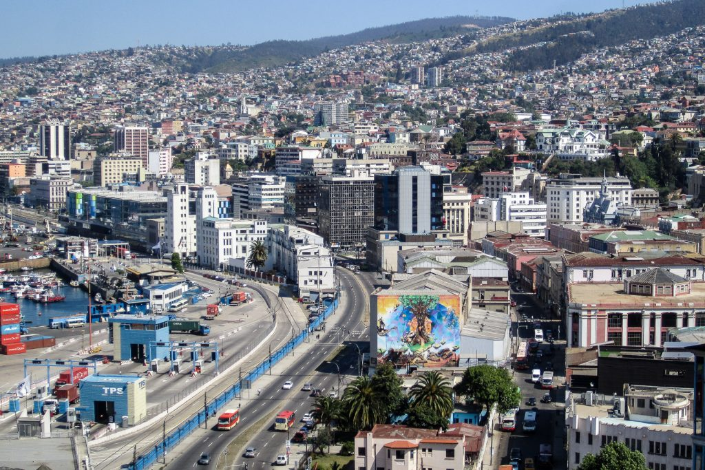 View of colourful Valparaiso from Cerro Artilleria