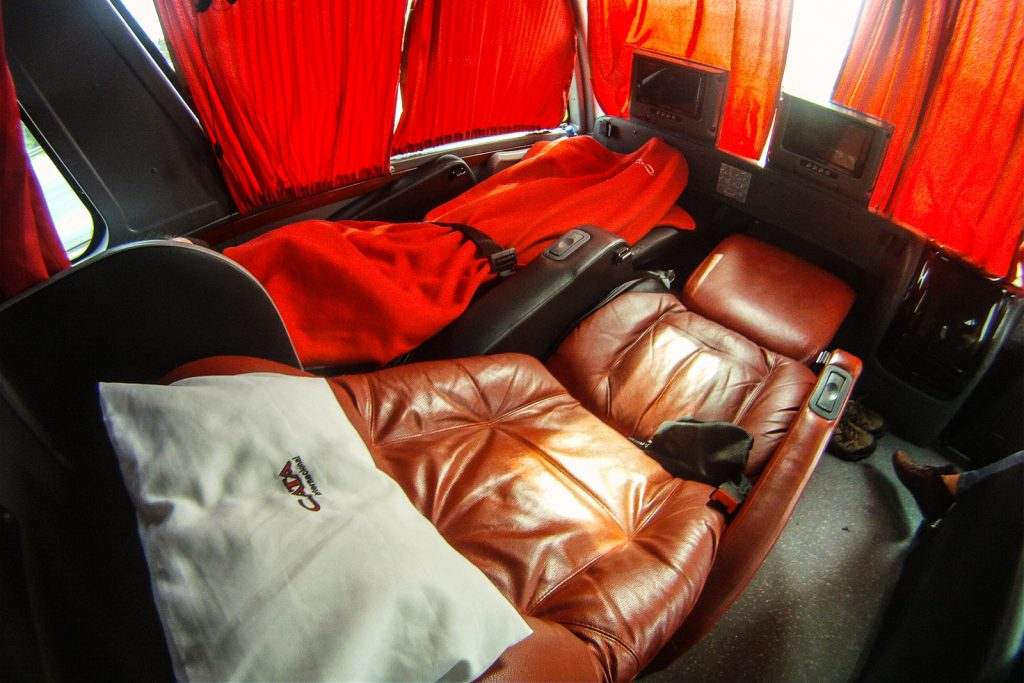 Crossing the Andes by Bus, flat bed bus seat, Royal Suite
