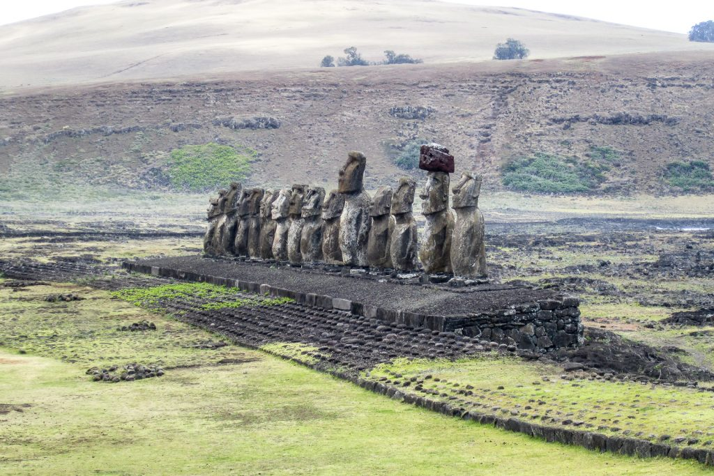 "Easter Island statues called ""Moai"" at Ahu Tongariki"