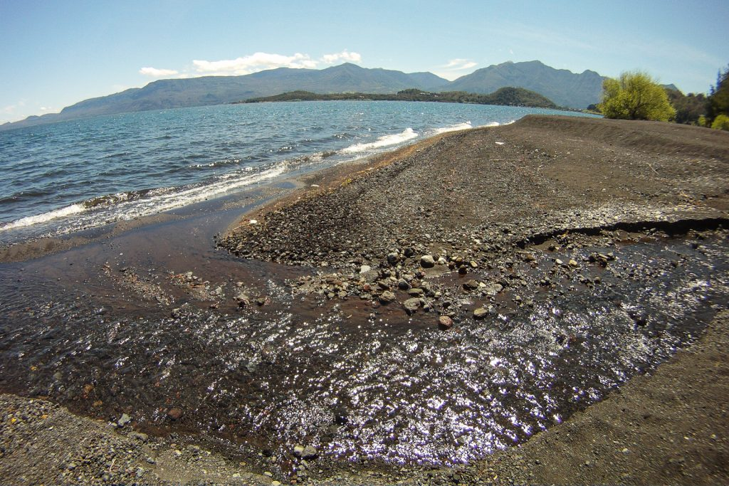 Black Sand Beach on Villarrica Lake