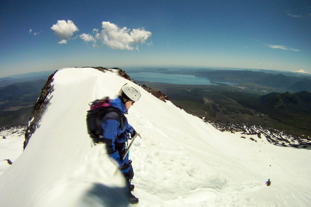 Preparing to Slide down Villarrica Volcano on Sledge
