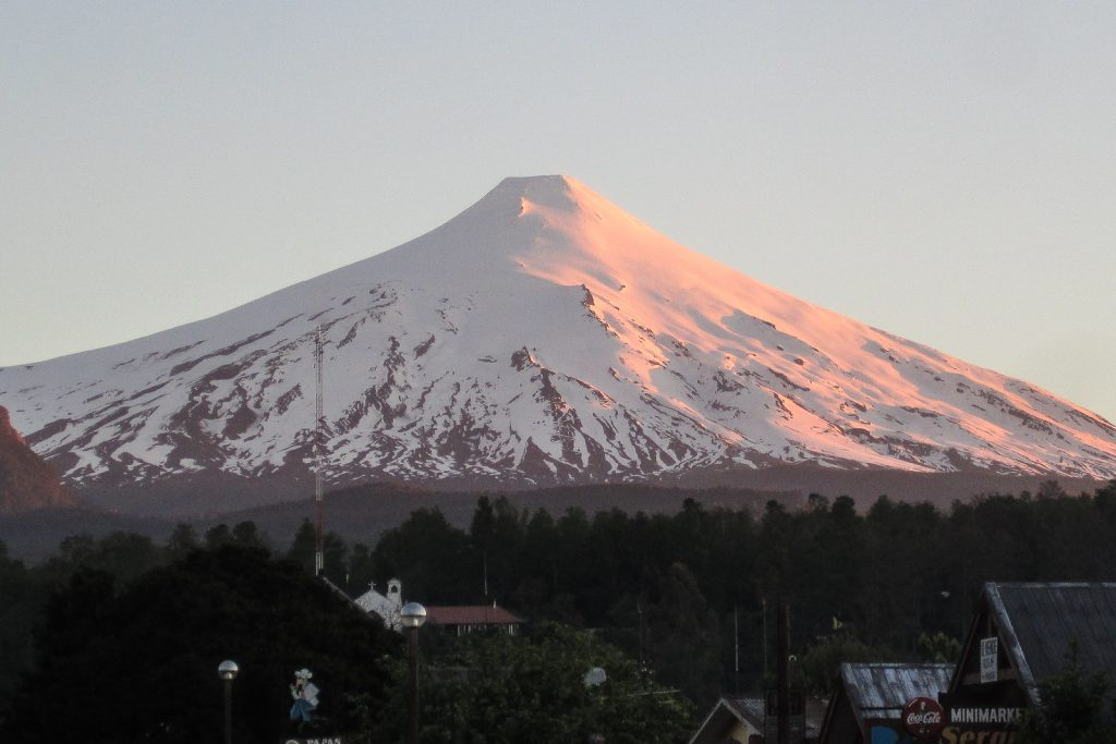 Sunset over Villarrica Volcano