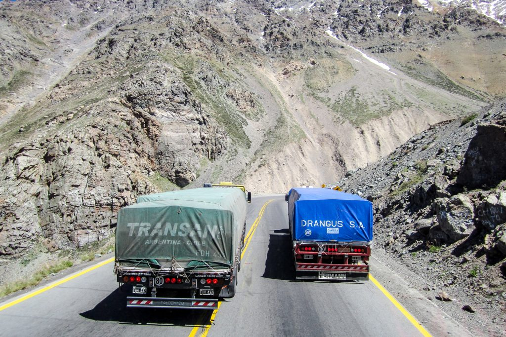 Lorries overtake at the Los Caracoles on Route 60, Santiago to Mendoza Bus