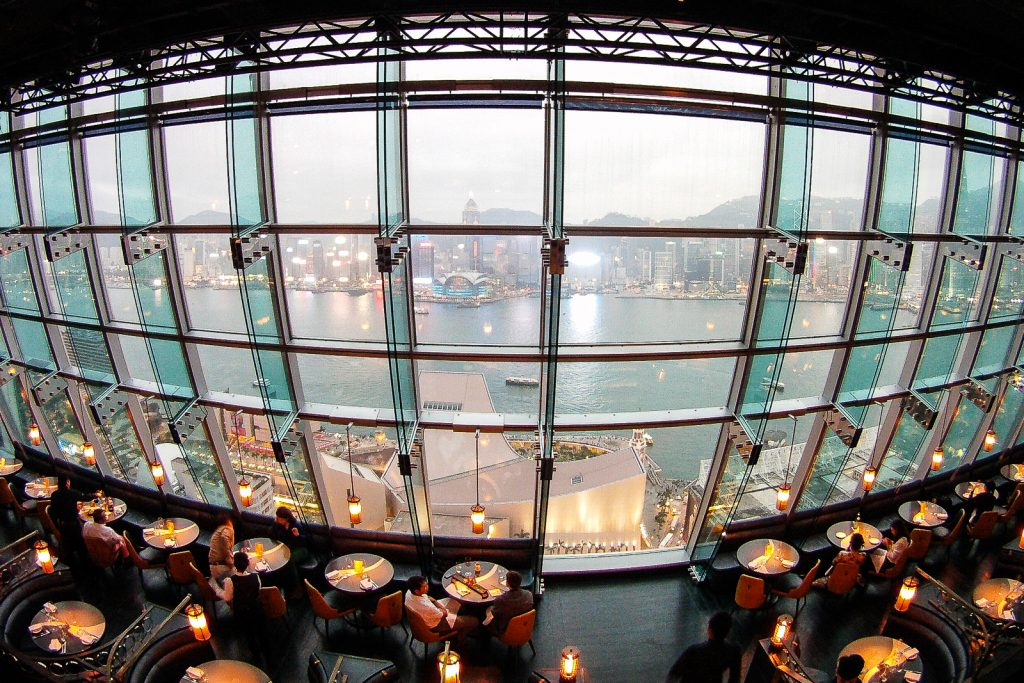 Aqua Bar 25th Floor View and restaurant. Hong Kong Kowloon. places to visit in hong kong