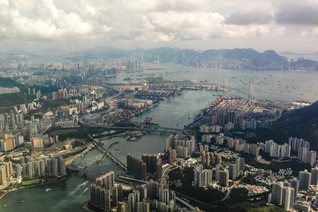 Flying and Travel over Hong Kong harbour. Top things to do in Hong Kong.