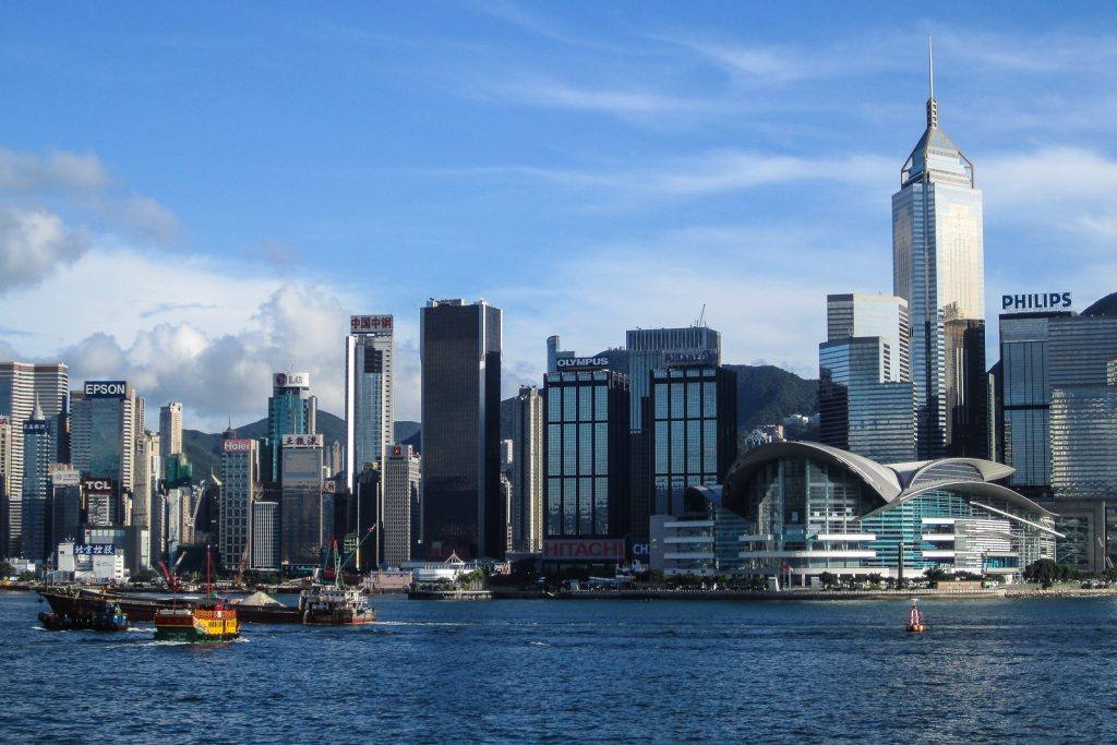 Hong Kong Victoria Harbour and Hong Kong Convention Centre and Causeway Bay. tsim sha tsui hong kong