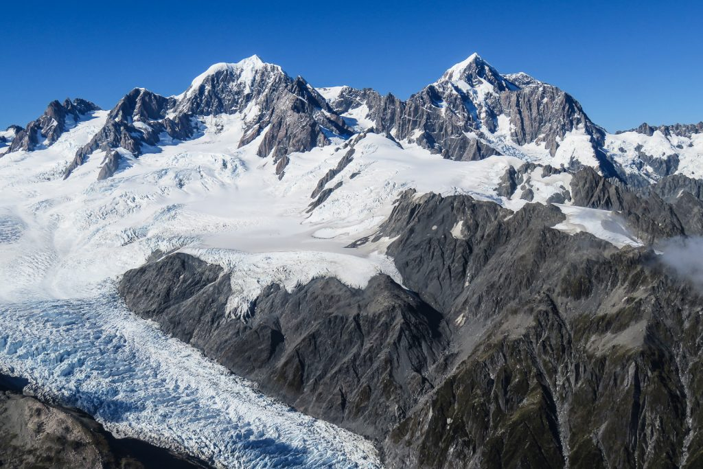 Views of Mt Cook from a helicopter flight over the Fox Glacier