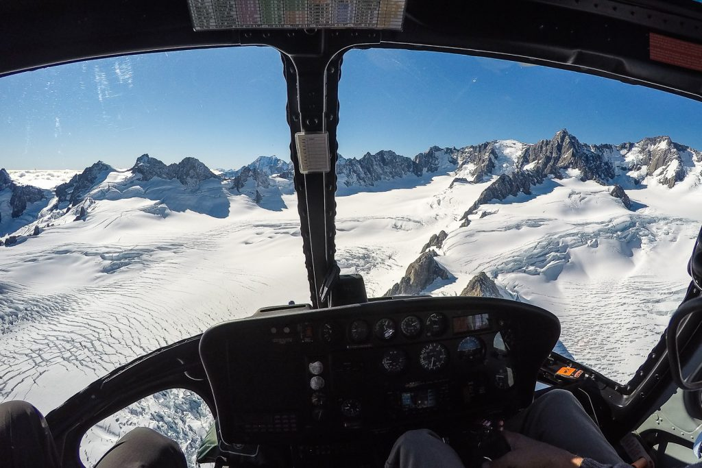 Approaching the Fox glacier with Glacier Helicopters, south island new zealand itinerary