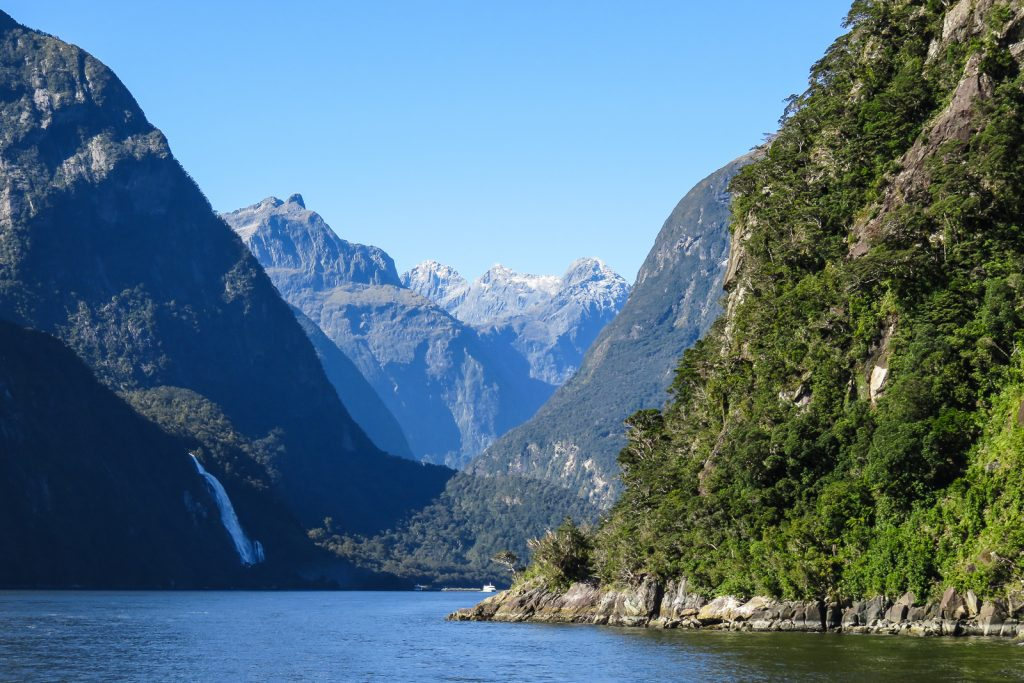 Sailing on the Milford Sound boat trip, south island road trip itinerary