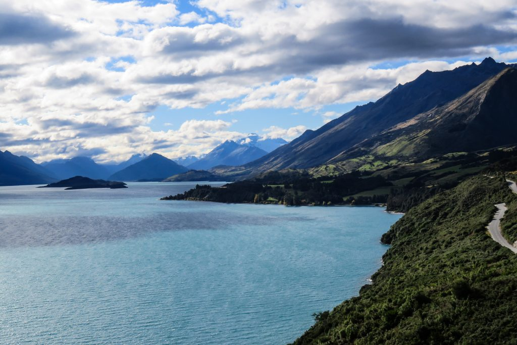 On the road from Queenstown to Glenorchy, looking toward Glenorchy New Zelanad. South Island Itinerary