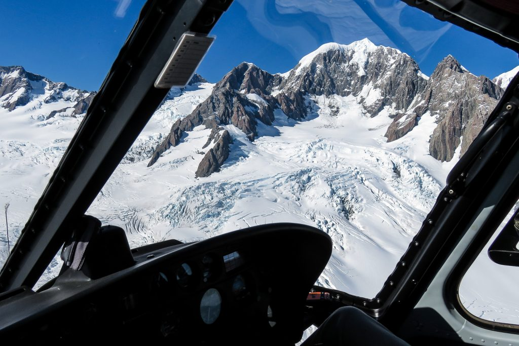 Views of Mt Cook and Aoraki mountain ranges from a helicopter flight over the Fox Glacier witgh Glacier Helicopters