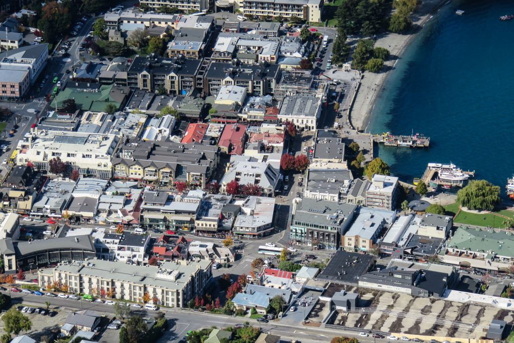 Queenstown Waterfront in the South Island New Zealand. Photo taken from the Skyline Gondola Viewpoint