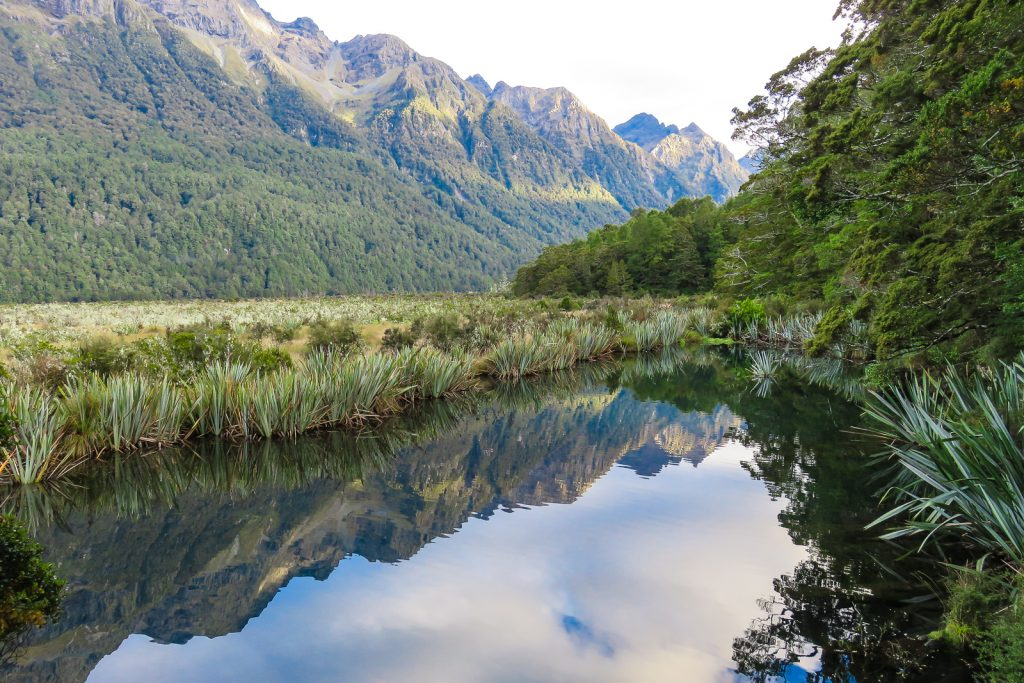 Mirror Lakes along the road from te Anau to Milford Sound through the Te Anau Downs