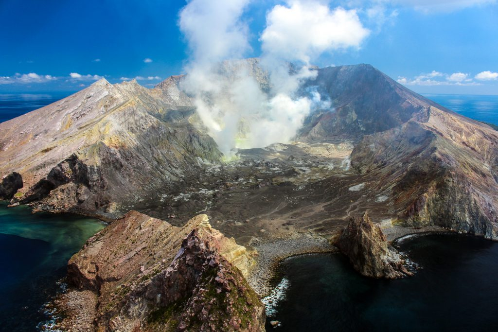 Whakaari, White Island. A volcanic island in the Bay of Plenty close to Whakatane. best places to visit in New Zealand travel blog.