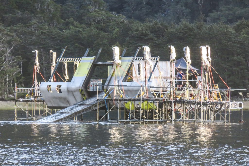Spaceship Film Set for Ridley Scott's Alien Covenant at Milford Sound in April 2016