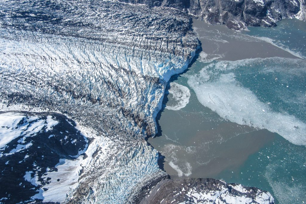 Glacier in Glacier Bay, Alaska. Flight tour from an Alasak cruise and inside passage