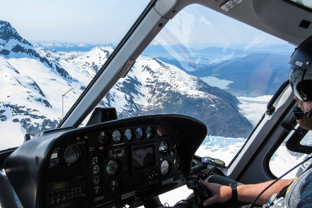 Juneau Icefield in Alaska USA. Helicopter flight for Glacier trek with Northstar Trekking on an Alaska Cruise and inside passage